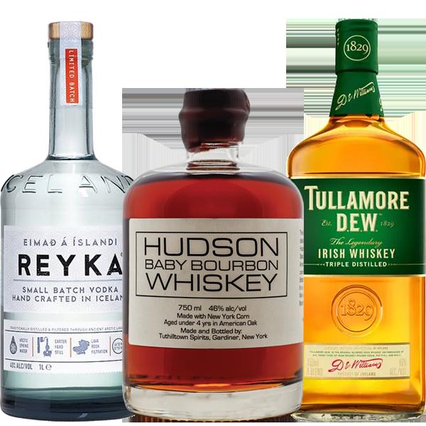 reyka vodka, hudson bourbon tullamore dew